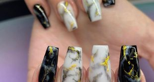 Black and white marbles with gold _ _ _