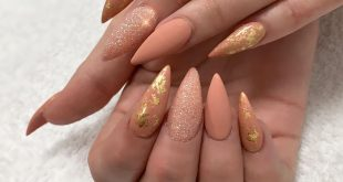 Matte nails with gold flakes.     . . .