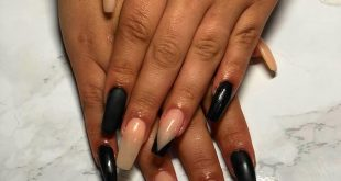 """First attempt at """"V French Tip""""   Using  acrylic in Black Lace &  acrylic in Cov"""