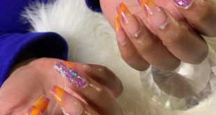 Get into this Purple ,orange , yellow ombré marble. Book your appointment now