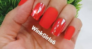 Red matte and glossy press on nails   Set of 12 at ₹500/-  With complimentary