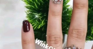 Brown and silver embellished press on nails   Set of 12 at ₹500/-  With compli