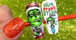 Grinch version 2020  hand painted with gel polish
