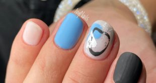 Something abstract and trendy Gel polish Reinforcement with base Combined manicure Art paints